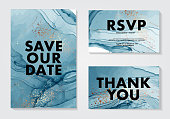 Abstract blue 2020 watercolor alcohol ink flow paint, marble navy gold fluid modern art, wedding invitation. Save the date card, rsvp design template in vector.