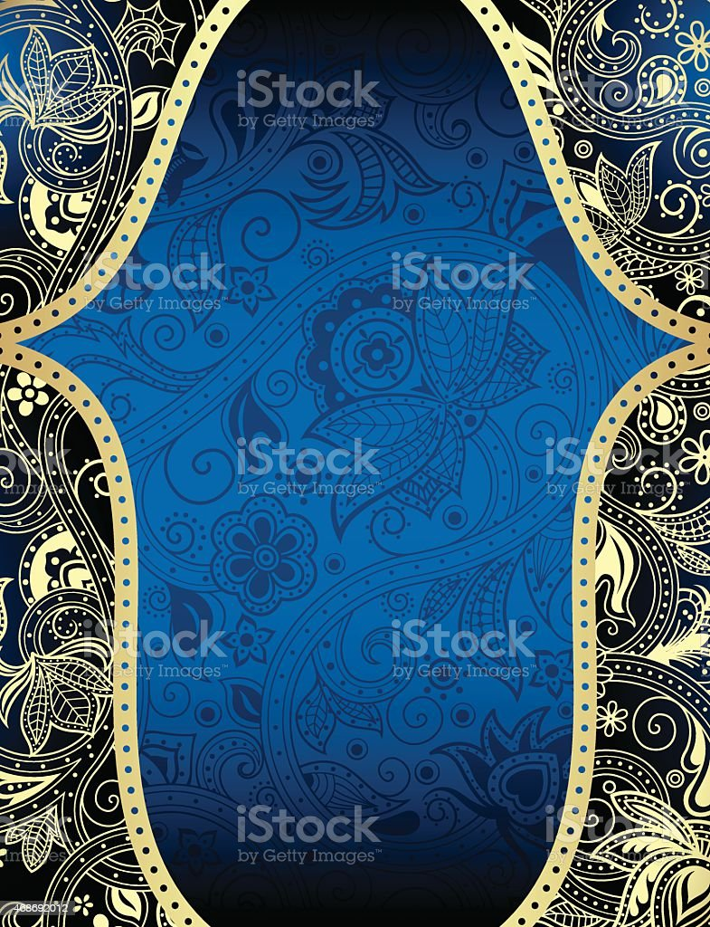 Abstract Blue And Gold Floral Background Royalty Free Stock