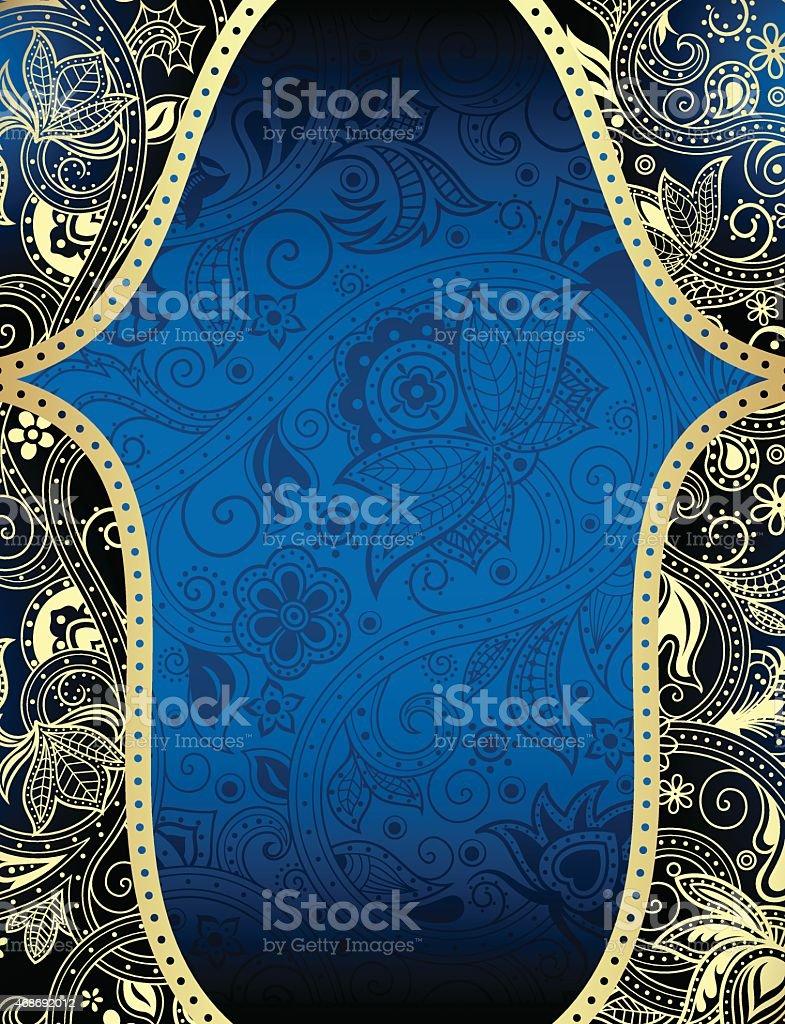 Astratto Blu E Oro Sfondo Floreale Immagini Vettoriali Stock E