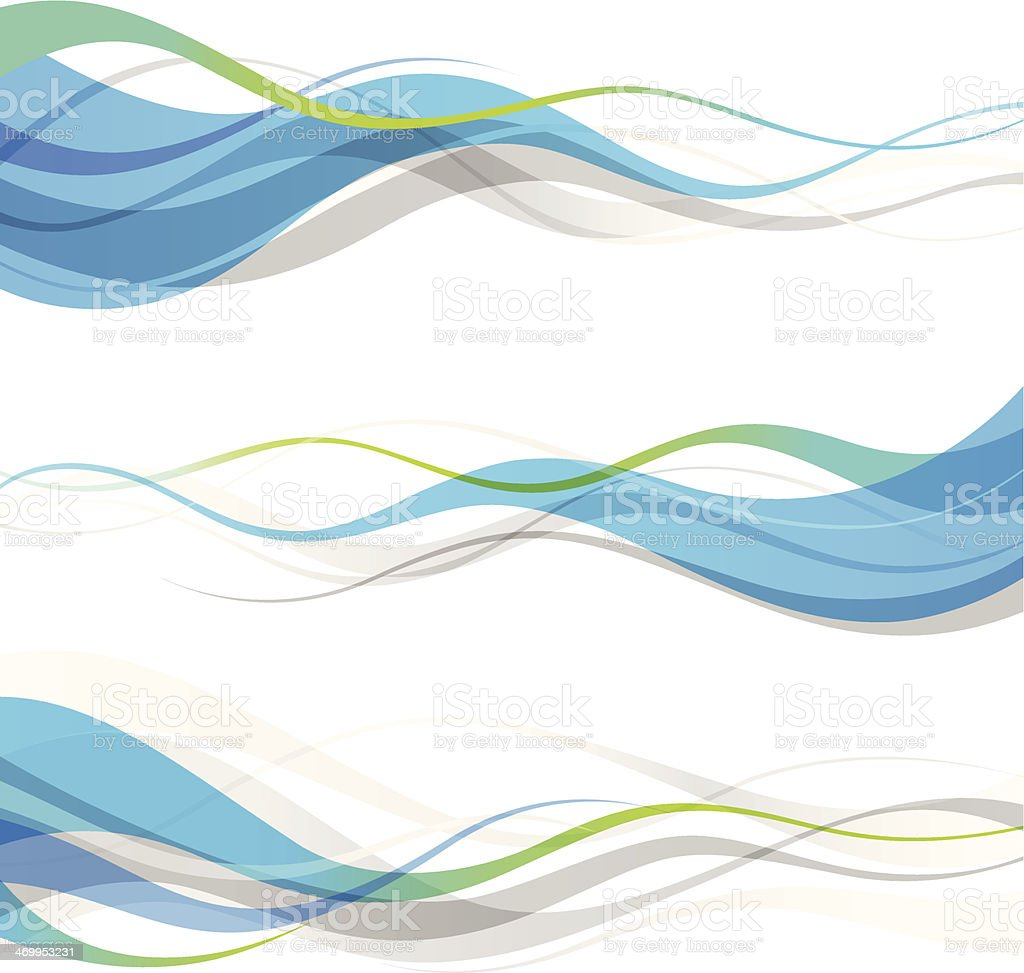 Abstract blue and green wavy banners royalty-free stock vector art
