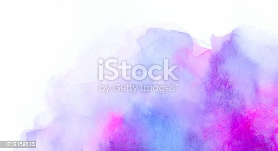 istock Abstract blue and lilac watercolor background 1219159313