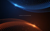 istock Abstract blue and orange light dots background 1278775587