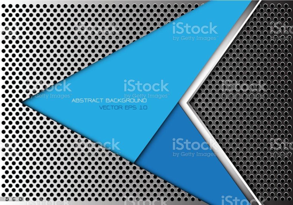 3d Blue Abstract Mesh Background Circles Stock Vektor: Abstract Blue Arrow On Metal Circle Mesh Design Modern