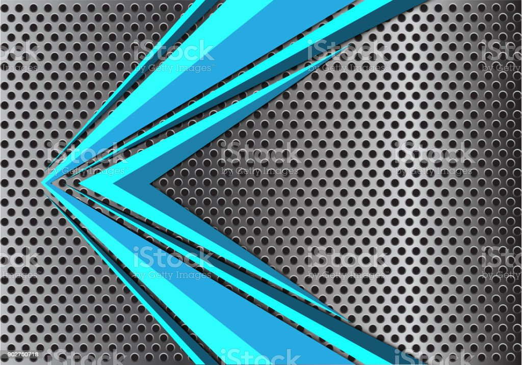 3d Blue Abstract Mesh Background Circles Stock Vektor: Abstract Blue Arrow Speed On Metal Circle Mesh Design