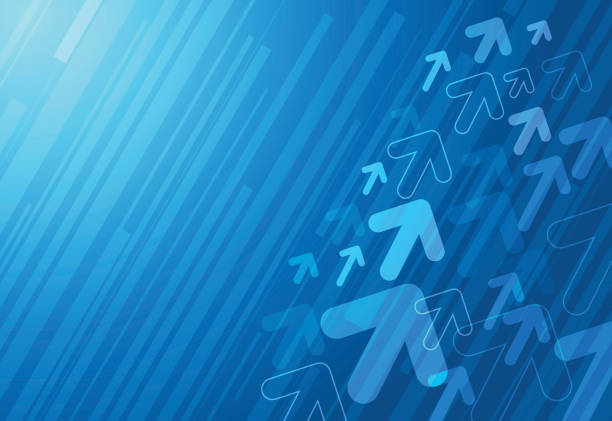 Abstract blue arrows background vector art illustration
