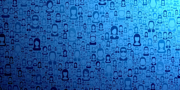 Abstract blue background - People pattern vector art illustration