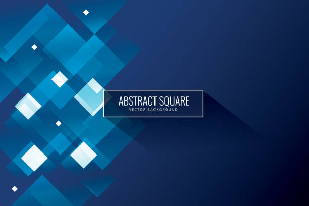abstract blue background - square shape stock illustrations
