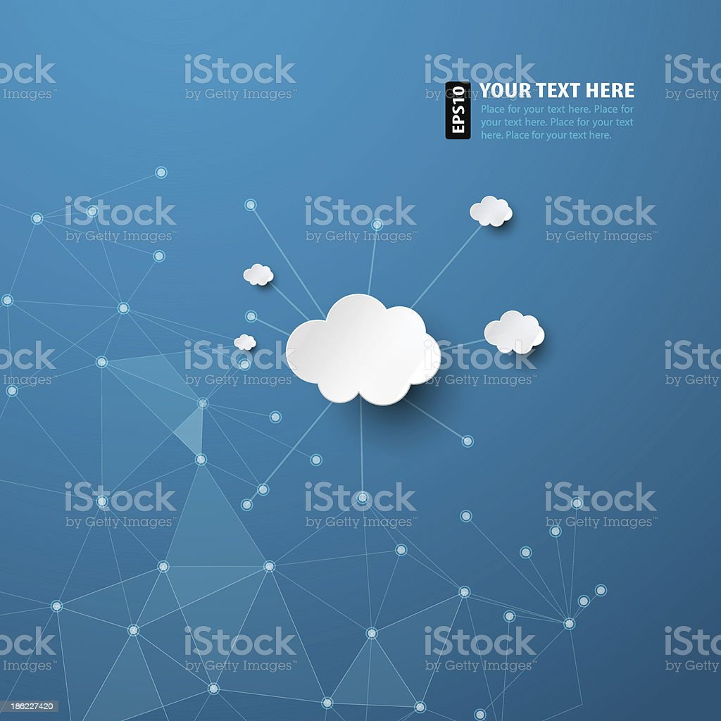 Abstract blue background with white clouds vector art illustration