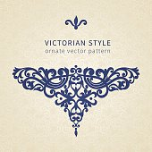 Abstract blue baroque ornament in Victorian style