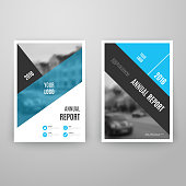 Abstract blue brochure template with icons.