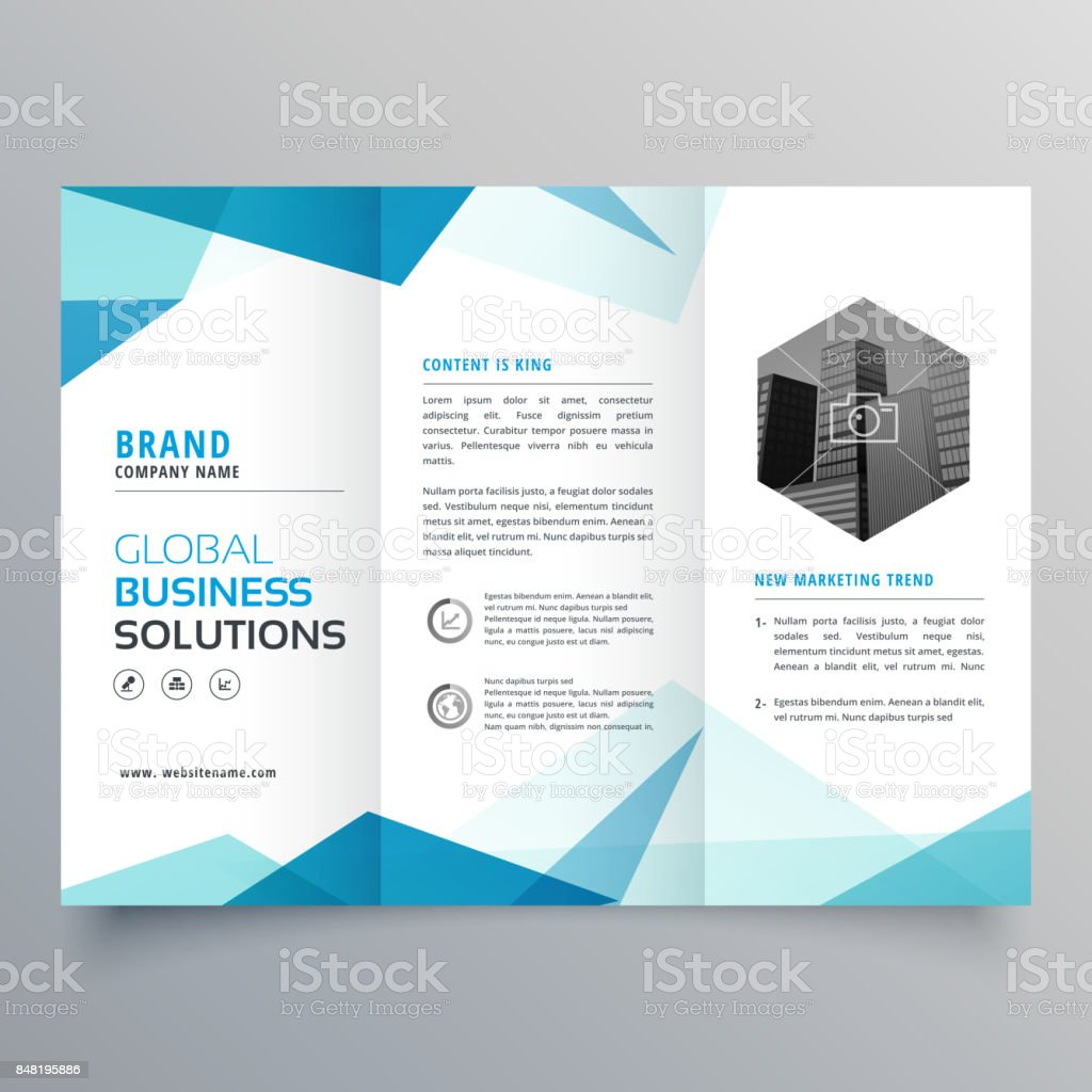 abstract blue business trifold brochure design template vector art illustration