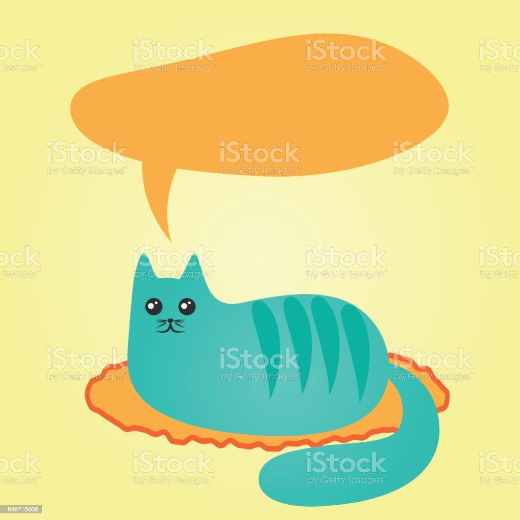 Vetores De Abstrato Azul Gato Deitado Em Um Tapete E Uma Nuvem De