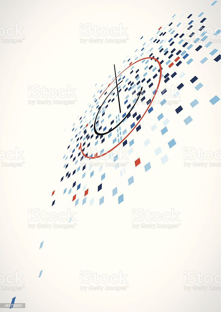 abstract blue check with red line pattern technology background vector art illustration