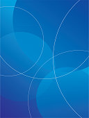 Vector illustration of an abstract gradient blue background with line circles on it.