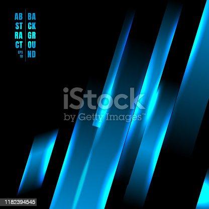 Abstract blue color light oblique line technology concept on black background. Vector illustration