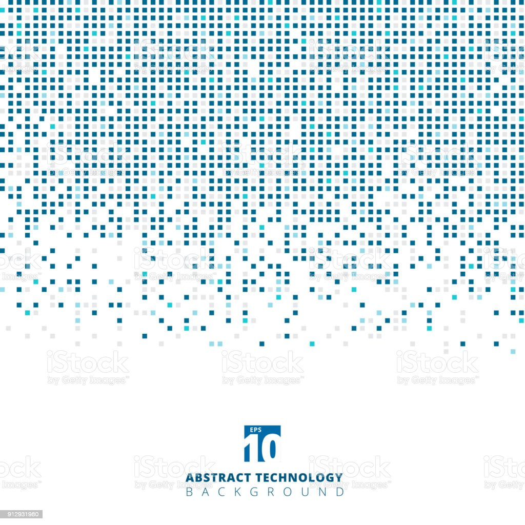 Abstract blue color square geometric with copy space, Technology digital vector art illustration
