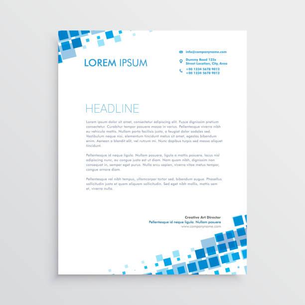 abstract blue creative letterhead design abstract blue creative letterhead design letterhead stock illustrations