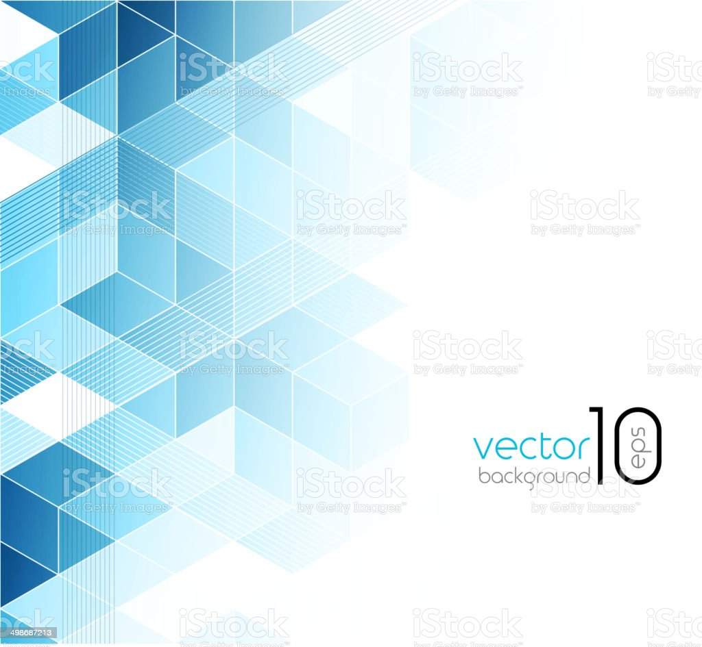 Abstract blue cubes background. vector art illustration
