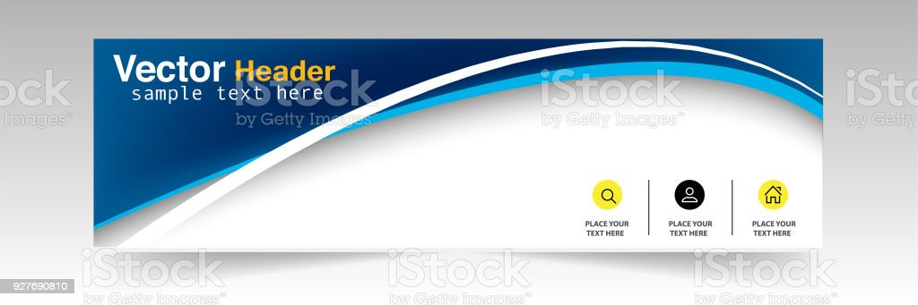 Abstract Blue Curve Header Design Background Vector Image vector art illustration