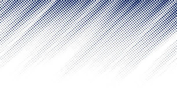 stockillustraties, clipart, cartoons en iconen met abstract blauw diagonaal raster textuur op witte achtergrond met kopieerruimte. stippen patroon. - kleurtoon