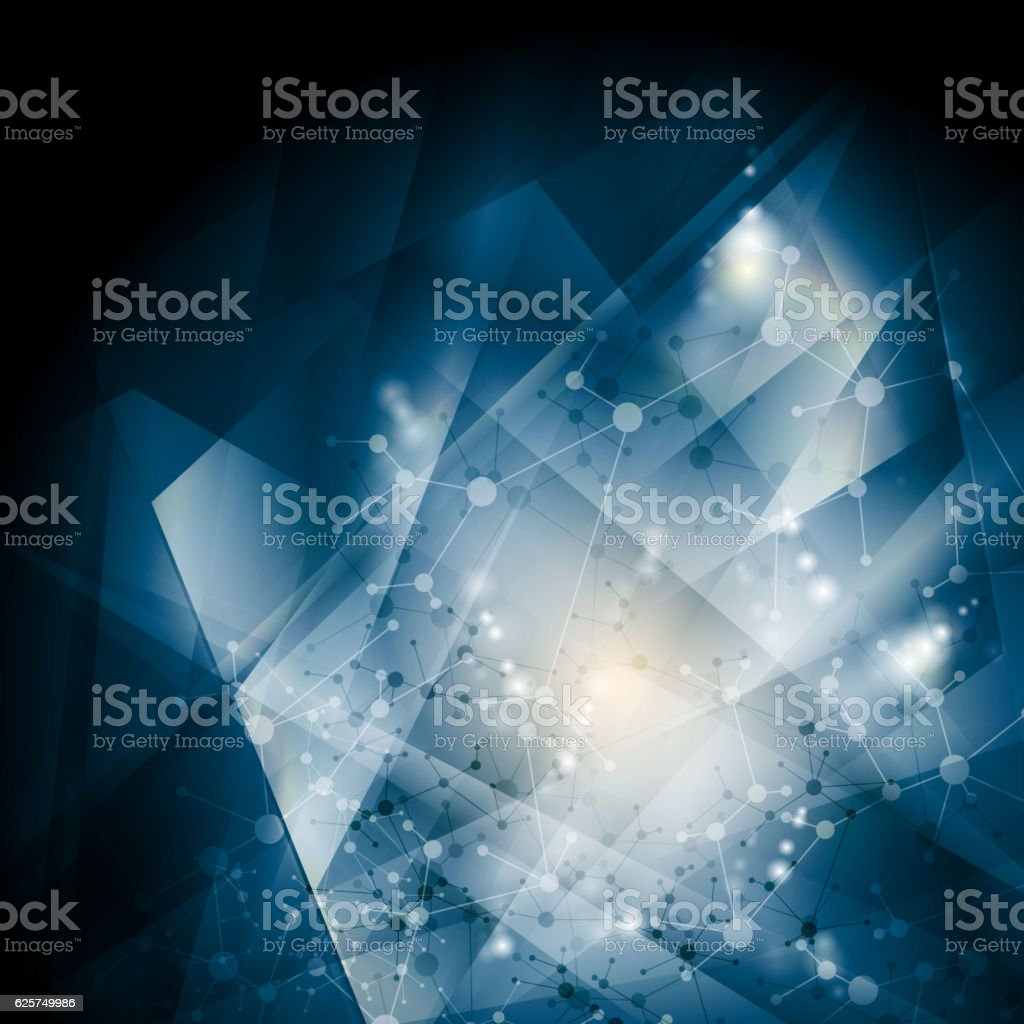Abstract blue DNA molecular structure background vector art illustration