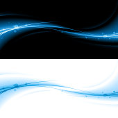 A cool flow of blue light and streams on both Black & White. Made from global swatches, Smartly grouped, on layers. No gradient mesh. See my portfolio for more!