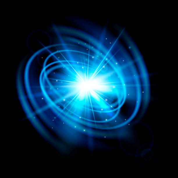 abstract blue explosion. wave flash. light effect isolated on black background. - paranormalny stock illustrations