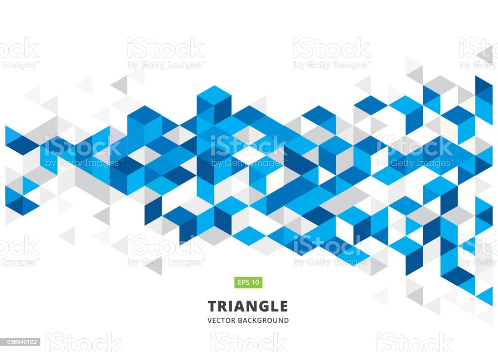 abstract blue geometric background with polygonal triangles, cube pattern.Template design with color triangle for brochure, leaflet, flyer design. Vector royalty-free abstract blue geometric background with polygonal triangles cube patterntemplate design with color triangle for brochure leaflet flyer design vector stock illustration - download image now