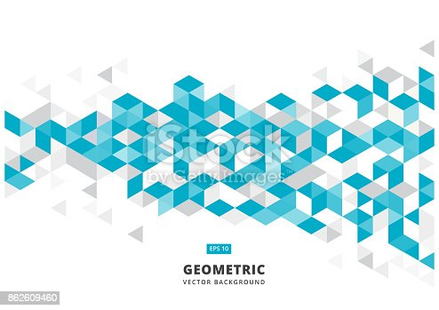869478294 istock photo abstract blue geometric background with polygonal triangles, cube pattern.Template design with color triangle for brochure, leaflet, flyer design. Vector 862609460