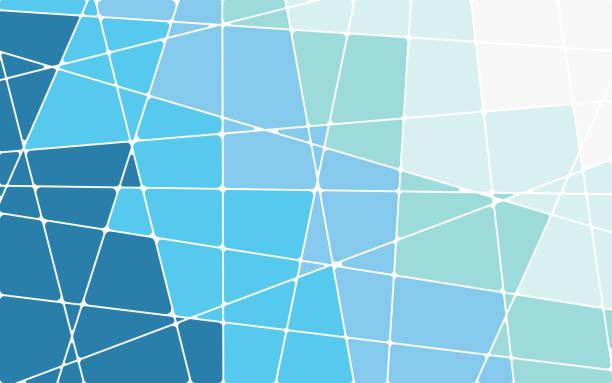 stockillustraties, clipart, cartoons en iconen met abstract blauw geometrische mozaïek achtergrond - mozaïek