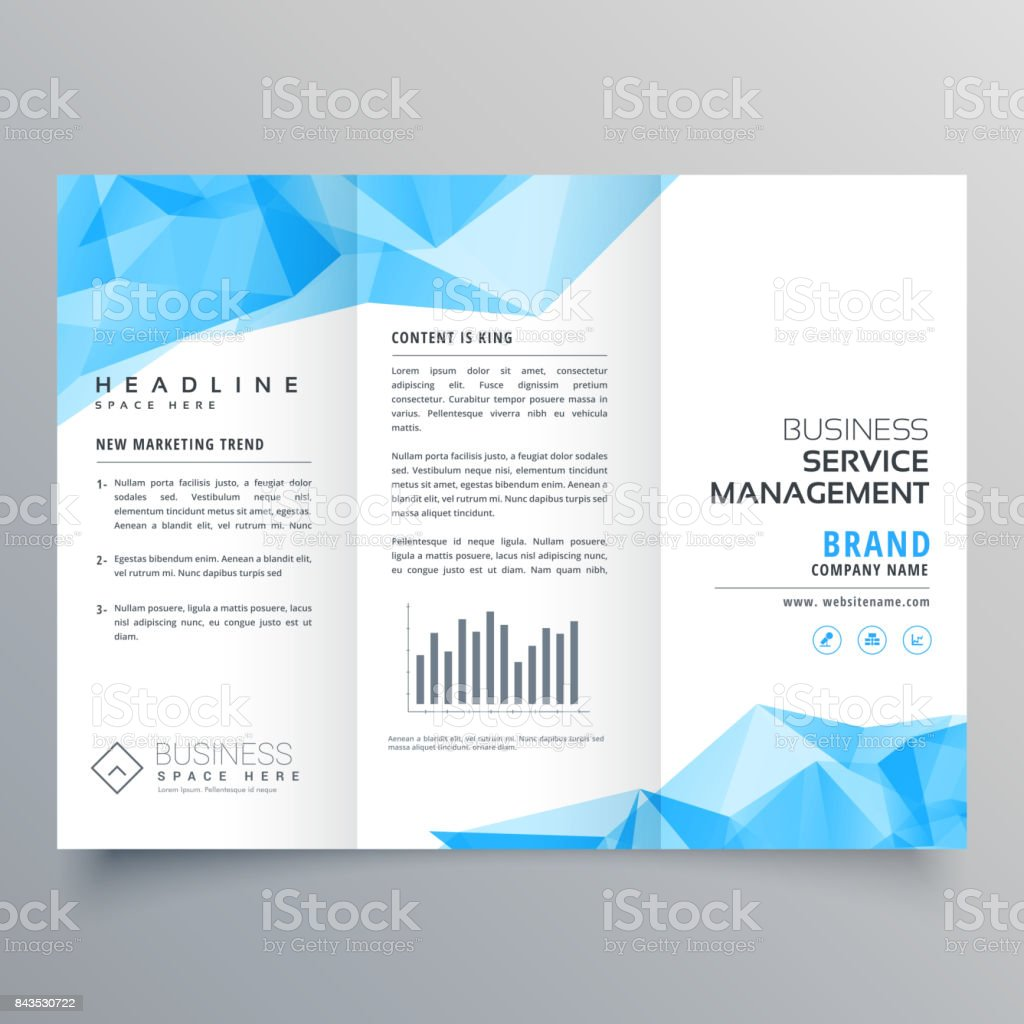 2bee50f6db616 plantilla de diseño de folleto tríptico geométrico azul Resumen ilustración  de plantilla de diseño de folleto