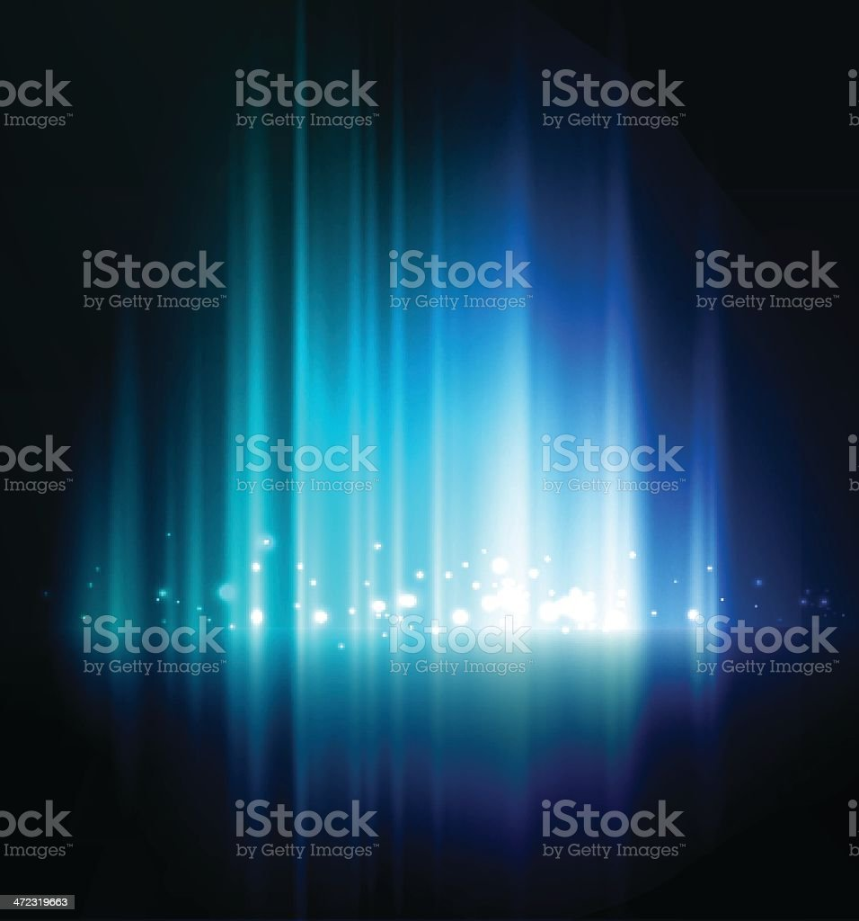Abstract blue glow background with white lights vector art illustration