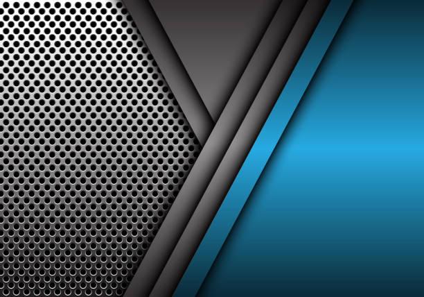 abstrakt blau grau metall überlappung auf kreis netz muster design moderne futuristische hintergrund vektor-illustration. - edelrost stock-grafiken, -clipart, -cartoons und -symbole