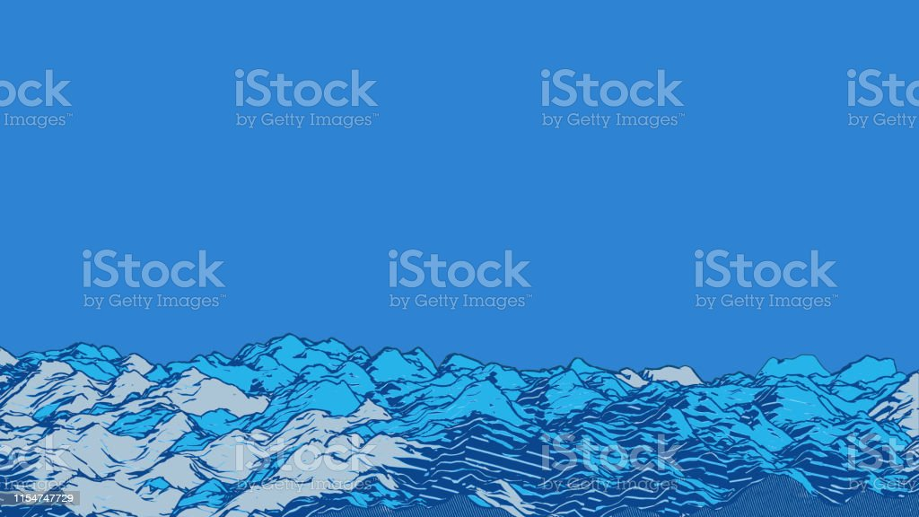 Abstract blue engraving drawing ground ocean wavy template background
