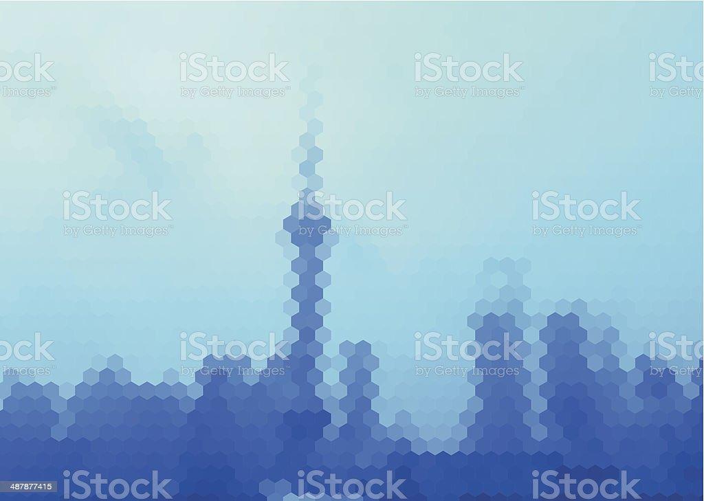 abstract blue hexagon mosaic style Shanghai skyline pattern background royalty-free stock vector art