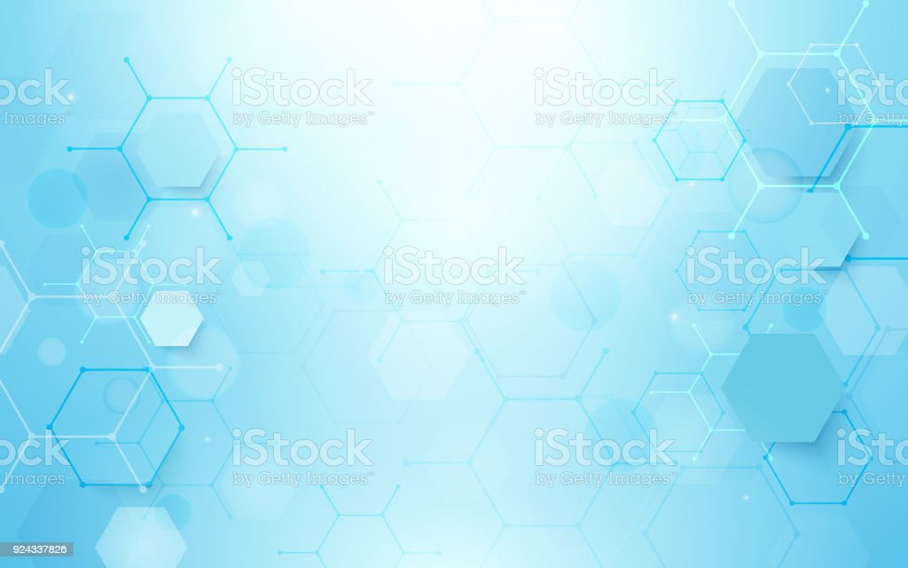 Abstract blue hexagons shape and lines with science concept background vector art illustration
