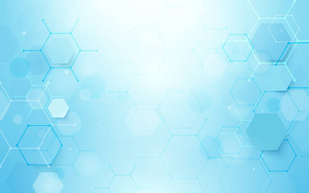 abstract blue hexagons shape and lines with science concept background - bio tech stock illustrations, clip art, cartoons, & icons