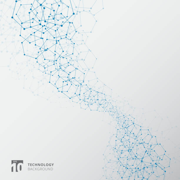 abstract blue hexagons with nodes technology connection structure elements on white background - science stock illustrations