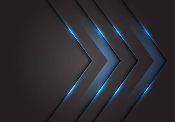 abstrakcyjny kierunek strzałki 3d w świetle niebieskim na ciemnoszarej pustej przestrzeni projektuje nowoczesną futurystyczną ilustrację wektorową w tle technologii. - metal stock illustrations