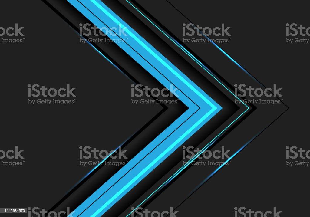 7636a3fa Abstract blue light arrow direction on dark grey design modern futuristic  background vector illustration. royalty