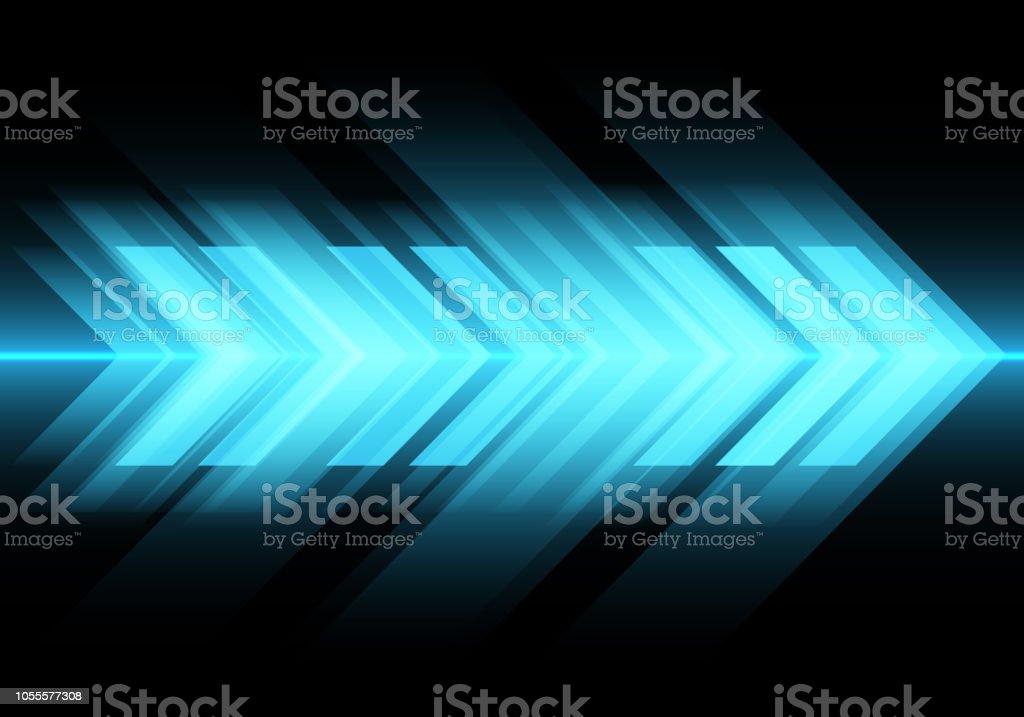 62281f65 Abstract blue light arrow speed on black design modern futuristic  technology background vector illustration. royalty