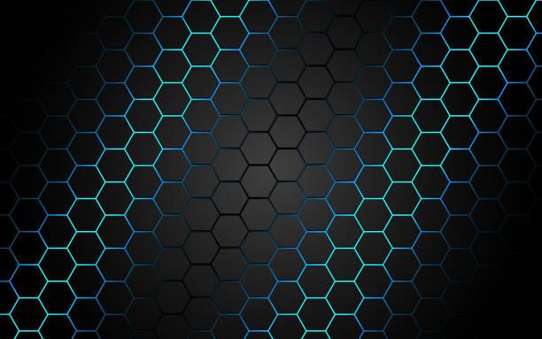 abstrakte blaues licht sechseck linie in grau modernen luxus futuristischen hintergrund vektor-illustration. - edelrost stock-grafiken, -clipart, -cartoons und -symbole