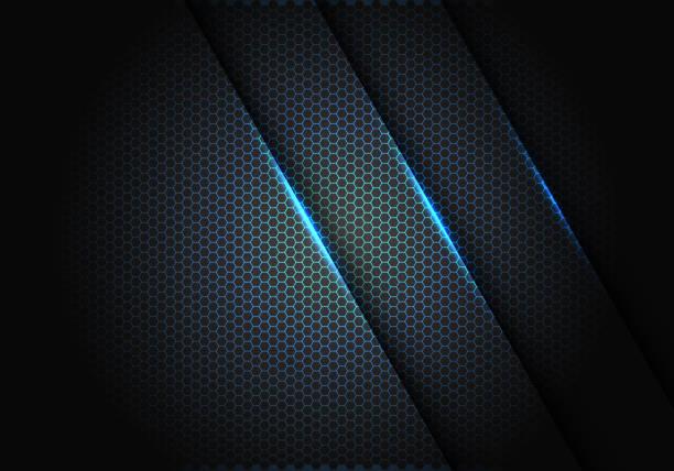 abstrakteblaues licht auf sechseck-mesh-muster in dunkelgrau design moderne luxus futuristische hintergrund vektor-illustration. - edelrost stock-grafiken, -clipart, -cartoons und -symbole