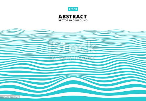Abstract blue lines wave, Wavy stripes pattern, Rough surface, Vector Illustration