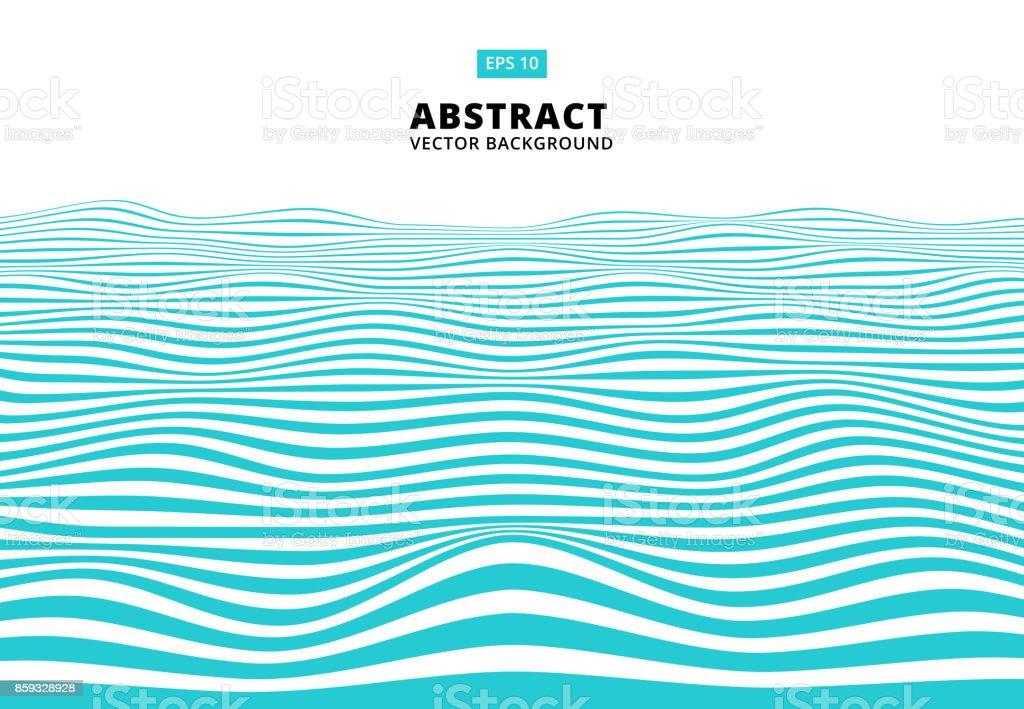 抽象的な青い線波、波状の縞模様、粗面、ベクトル ベクターアートイラスト