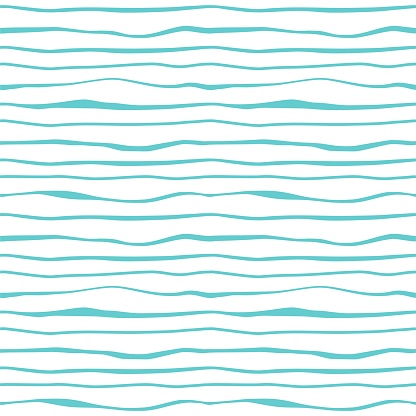 Abstract Blue Lines Waves Seamless Pattern Ocean Sea Water