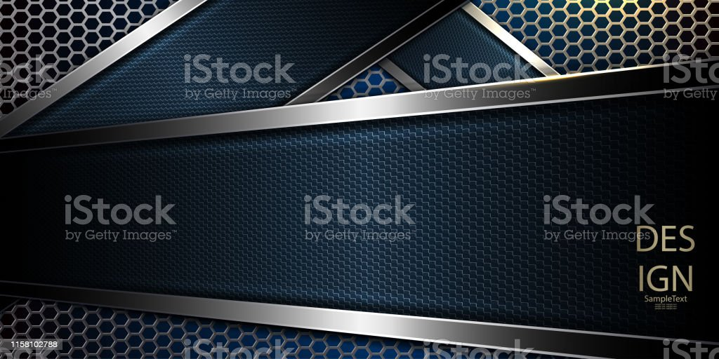 Abstract Blue Mesh Dark Background With Textural Frame And