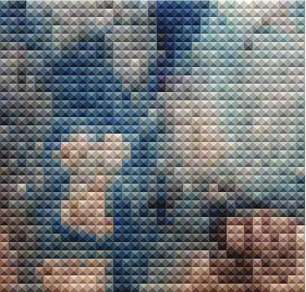 abstrakt blau hintergrund mit mosaik-muster - mosaikglas stock-grafiken, -clipart, -cartoons und -symbole