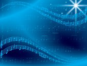 abstract blue music background with star - vector. Eps 10.