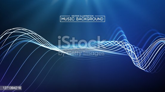 istock Abstract blue music wave background. Big Data sound wave vector illustration. Digital audio futur backround equalizer. EPS 10. 1271394216
